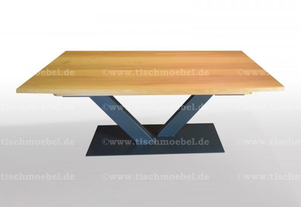 Tisch mit Baumkante aus Kernbuche 210x110 auf V - Untergestell