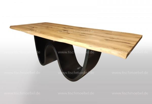 Esstisch mit Naturkante Wildeiche 170x100 auf Wave Tischuntergestell