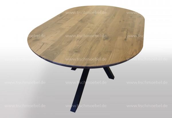 Ovaler Esstisch aus Nussbaum auf Spider Tischgestell 220x110cm