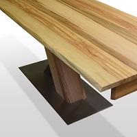 X-Untergestell-HolzEdelstahl-auf-Edelstahlplatte-Fussplatte-als-Rechteck-oder-in-Bootsform-wahlbar