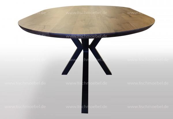 Nussbaumtisch auf Spider Tischgestell 240x100cm oval