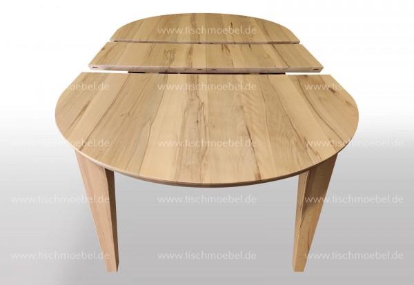 Tisch oval Kernbuche massiv 160x110cm ausziehbar per Mittelauaszug um 2x40cm Beine konisch, schweizer Kante