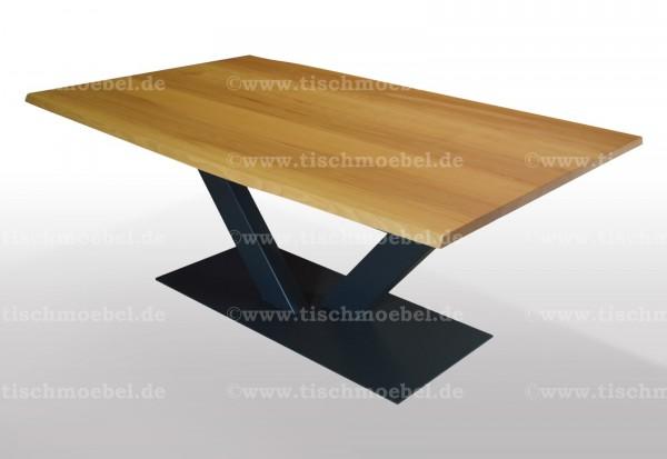 Baumtisch Kernbuche 190x120 auf V - Untergestell ausziehbar