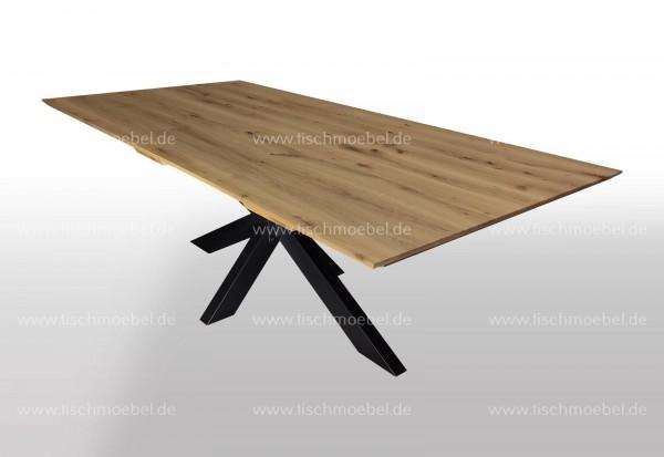 Esstisch Asteiche massiv ausziehbar auf Kreuzgestell aus Schwarzstahl 150x100cm