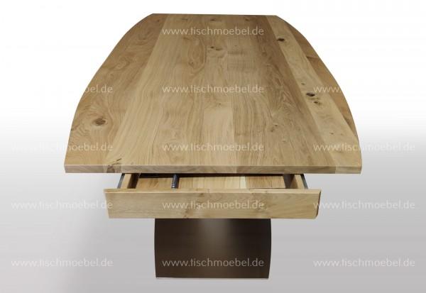 Tisch bootsform ausziehbar Wildeiche massiv 190 x 110 cm