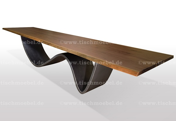 Designer Baumtisch auf wellen Untergestell Nussbaum amerikanisch massiv