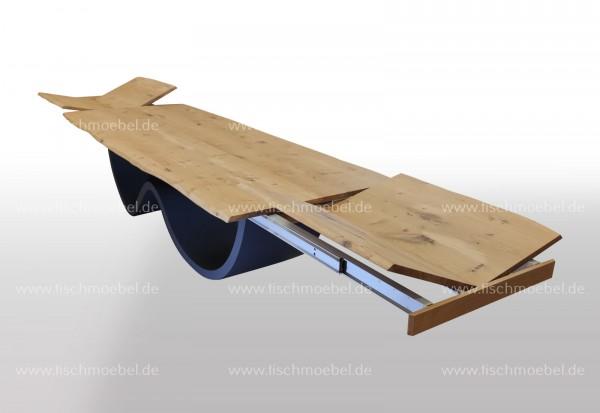 Baumkantentisch Wave Gestell ausziehbar Eiche 250x110cm