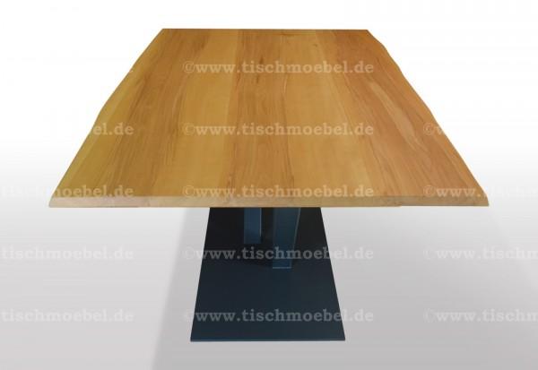Baumkantentisch Kernbuche 230x110 auf V - Untergestell